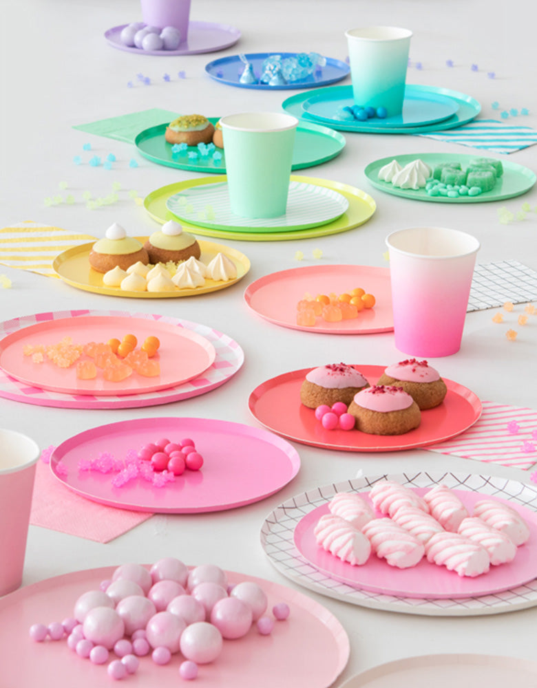 Oh Happy Day Large Rainbow Colors Paper Plates Set with cups and sweets
