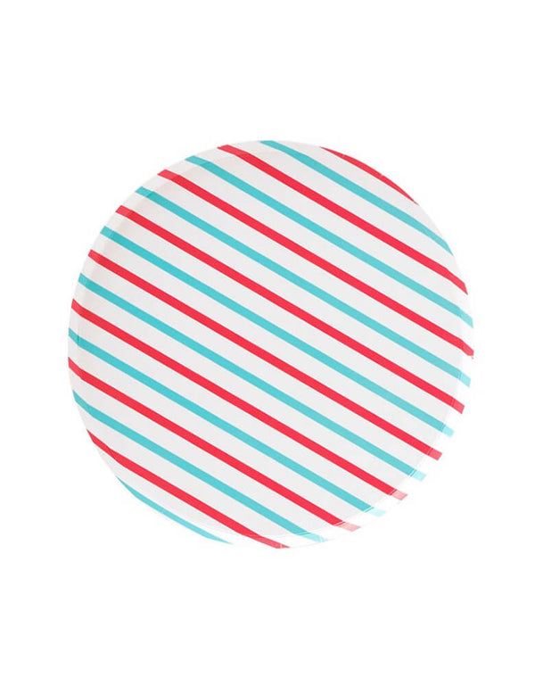 Pattern Party Paper Plates designed by OH happy Day - 9 inch  Cherry & Sky Stripes