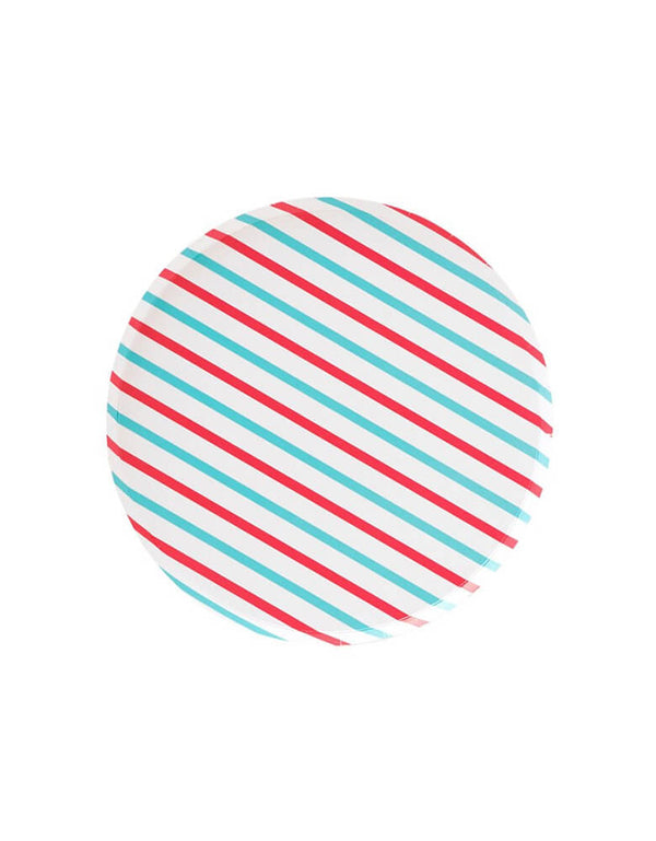 Pattern Party Paper Plates designed by OH happy Day - 7 inch Cherry & Sky Stripes side plates