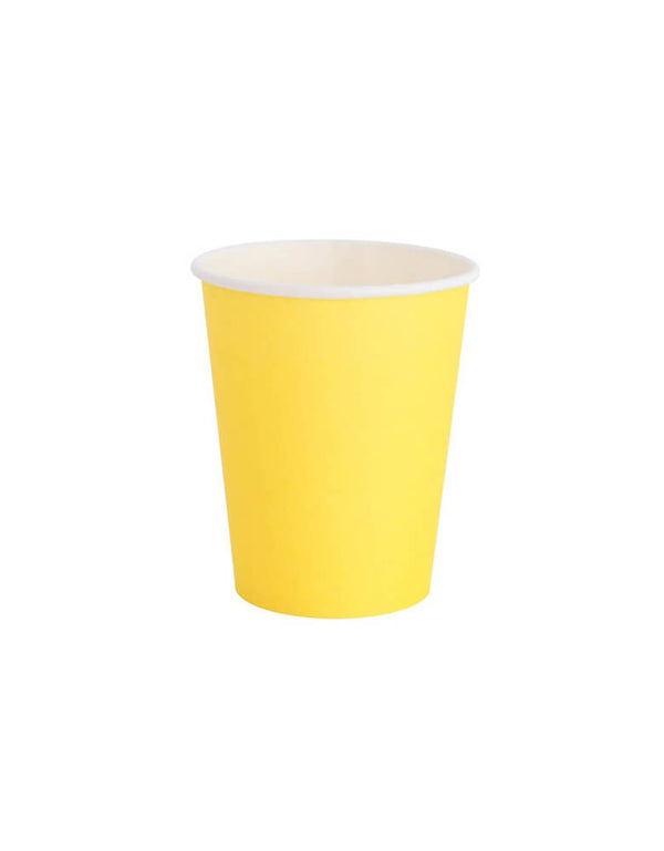 Yellow Party Cups. Modern Party Paper partyware designed by OH happy Day. This is the 8oz Cups in 20 Solid colors - color: Happy.