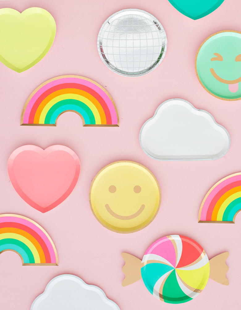 Oh Happy Day Rainbow Shaped Paper Plate, cloud shaped Plate and emoji paper plate