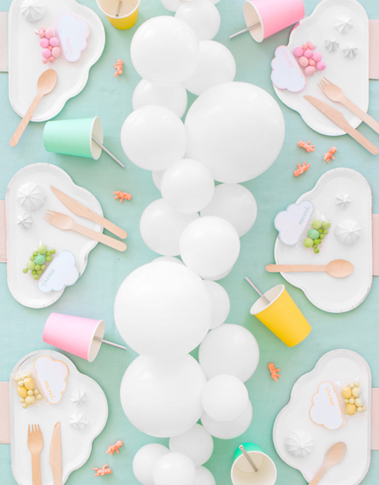 Cloudy Party with White Cloud Shaped Paper Plates and White Balloon Centerpiece