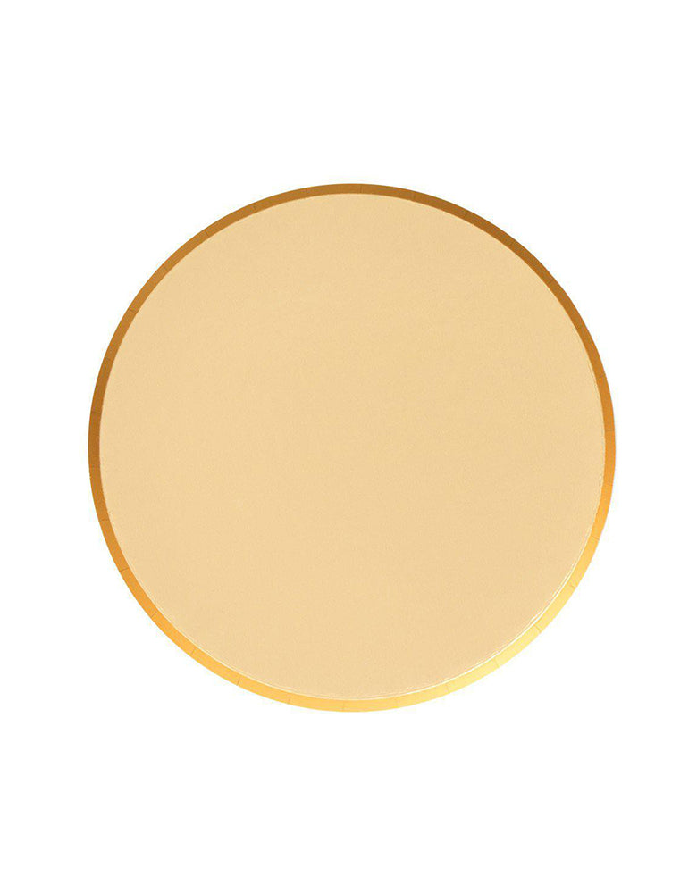 OH happy Day Large 9 inches Paper Plates in Gold Color, Featuring delicate low profile rim with a flat base in double sided color. these simply modern and chic Paper cups are eco-friendly, perfect for Birthday party, Kids birthday party, Christmas celebration , modern event, baby shower, Holiday celebration, Summer Party, baby shower, bridal shower and all type of party