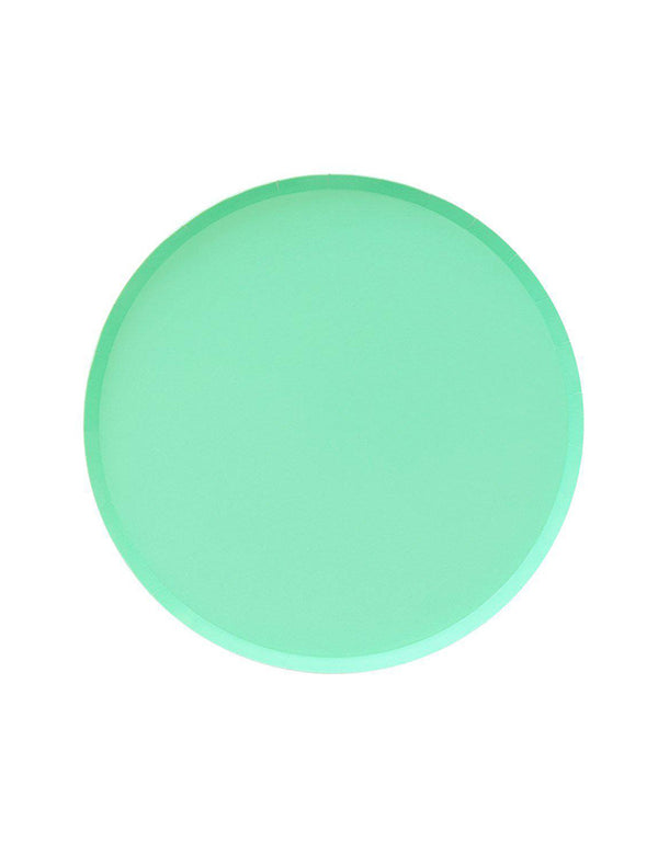 OH happy Day Large 9 inches Paper Plates in Mint Color, Featuring delicate low profile rim with a flat base in double sided color. these simply modern and chic Paper cups are eco-friendly, perfect for Birthday party, Kids birthday party, Spring party, Easter celebration , modern event, baby shower, Holiday celebration, Summer Party, baby shower, bridal shower and all type of party