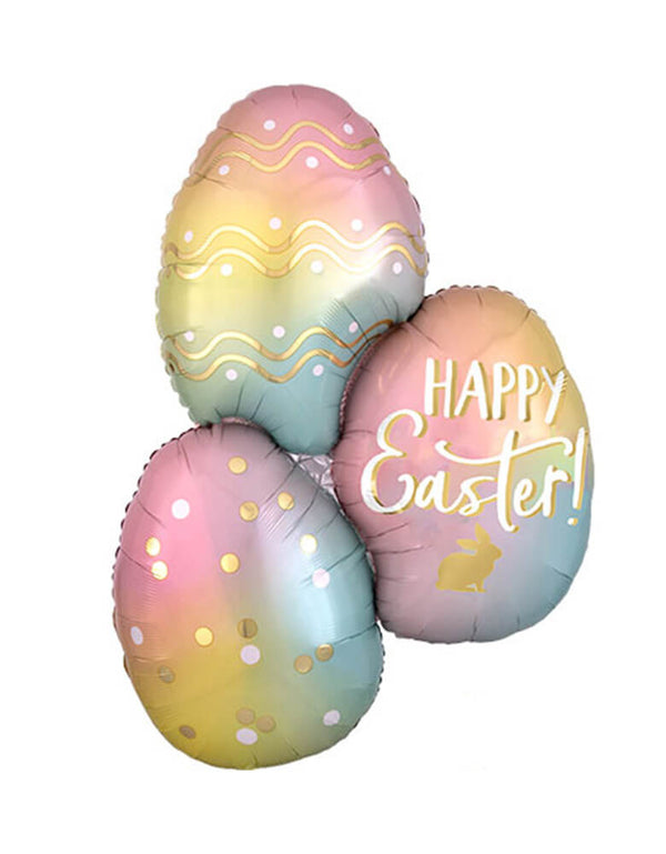 "Anagram 35"" Ombre-Happy-Easter-Eggs-Foil Balloon in pastel ombre colors for Easter Party"