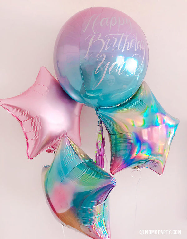 Dreamy birthday Pastel rainbow balloon boutique with Hand writing on Ombre Orbz Pastel Pink and Blue Foil Balloon, Junior Iridescent Pastel Rainbow Star Shaped Foil Balloons, and Junior Pastel Pink Satin Luxe Star Shaped Foil Balloon