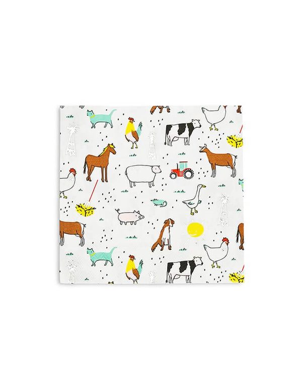 Day Dream Society On The FARM Barnyard animals Party Napkins, Set of 16