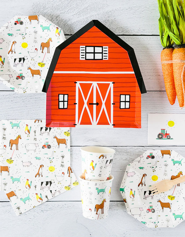 Kids Barnyard Farm Party Tableware with Day Dream Society On The FARM animals Party Plates, Barnyard house plates, Farm animlas Napkins, and Cups, Tattoos, and carrot toys