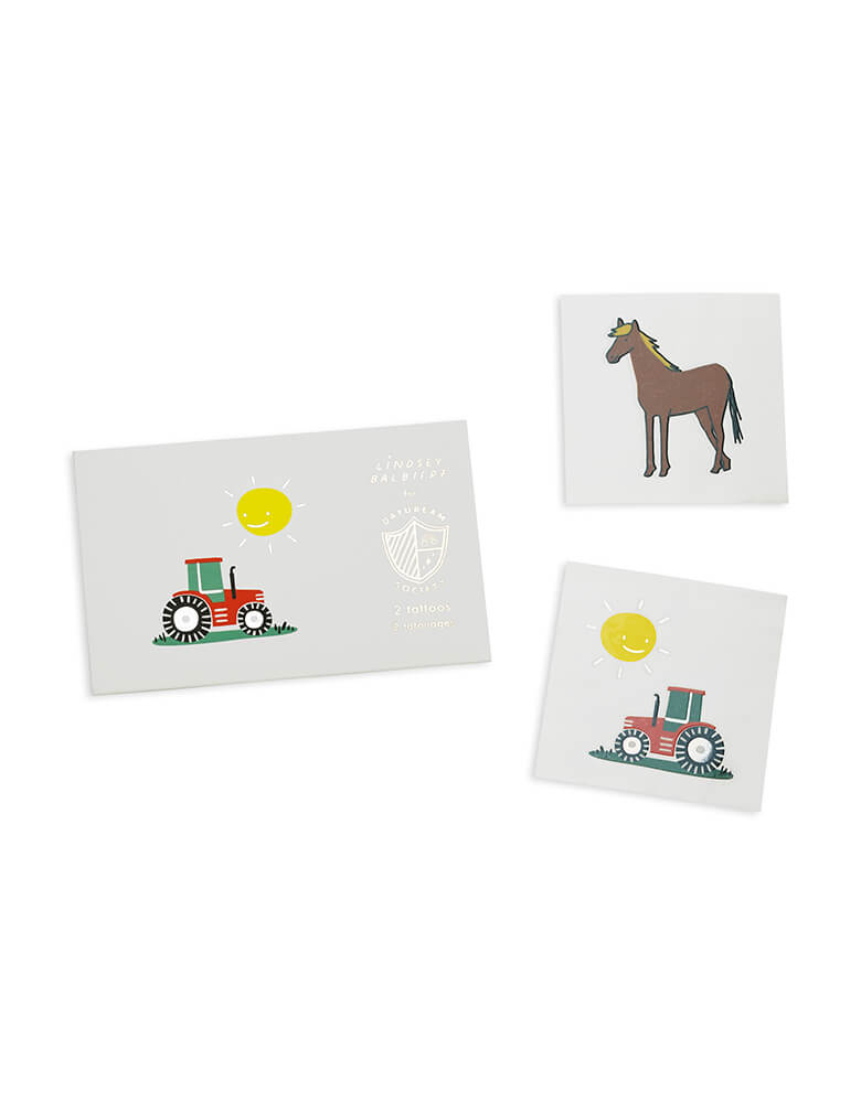 Daydream Society_On the farm temporary tattoos featuring a horse and tractor