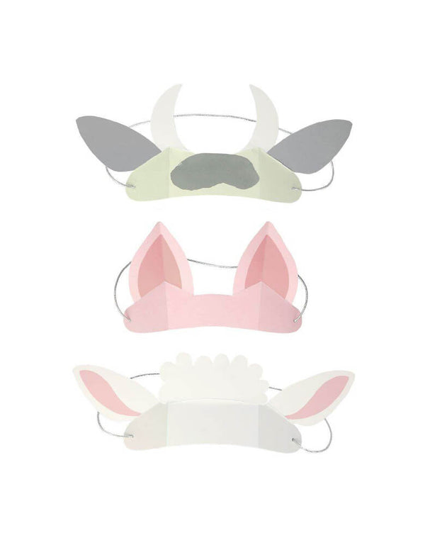 Meri Meri On The Farm Animal Ears featuring designs of a cow, pig and sheep, eco-friendly paper made party wear for kids farm/animal birthday party celebration.