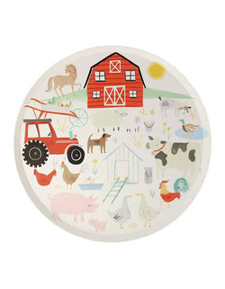 "Meri Meri On the Farm 10.25"" Dinner Plates featuring illustrations of farmyard scene including farmhouse, tractor and farm animals"