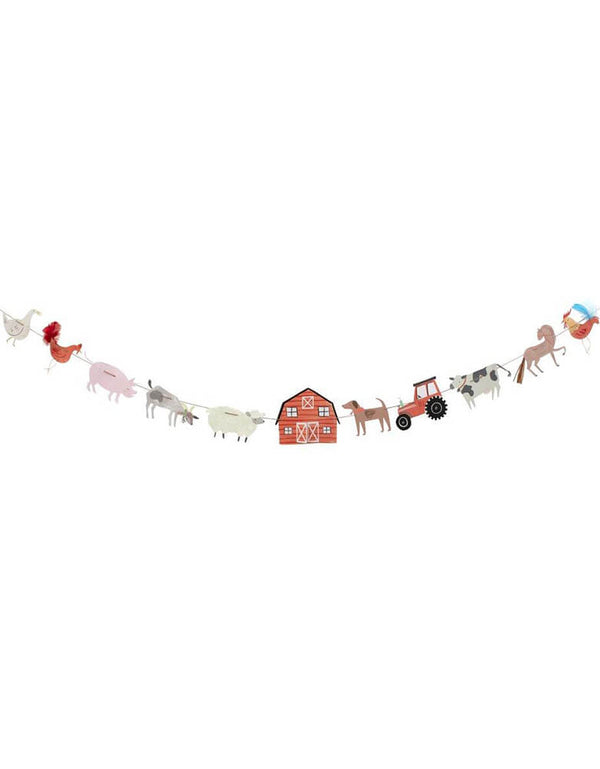 On The Farm Large Garland by Meri Meri,  featuring farm themed pennants including farm animals, a tractor, and a barn house