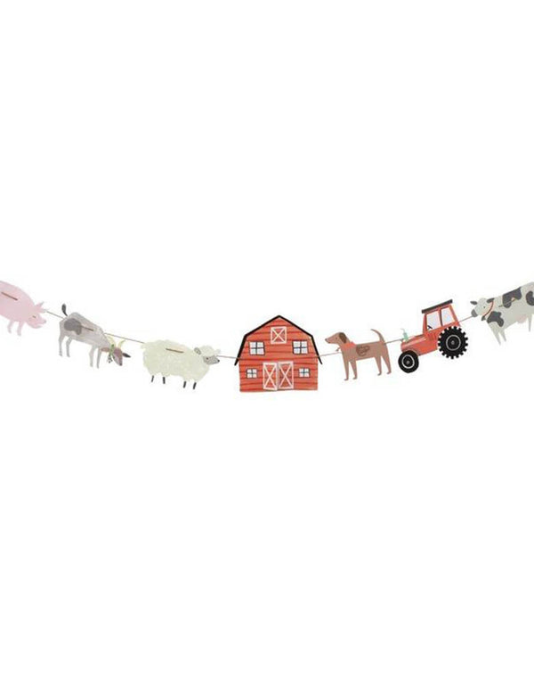 Meri Meri On The Farm Large Garland featuring farm themed pennants including farm animals, a tractor, and a barn house