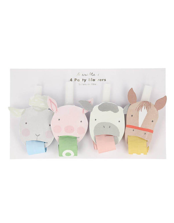 Meri Meri On the Farm Party Blowers with farm animal designs including a sheep, cow, horse and pig