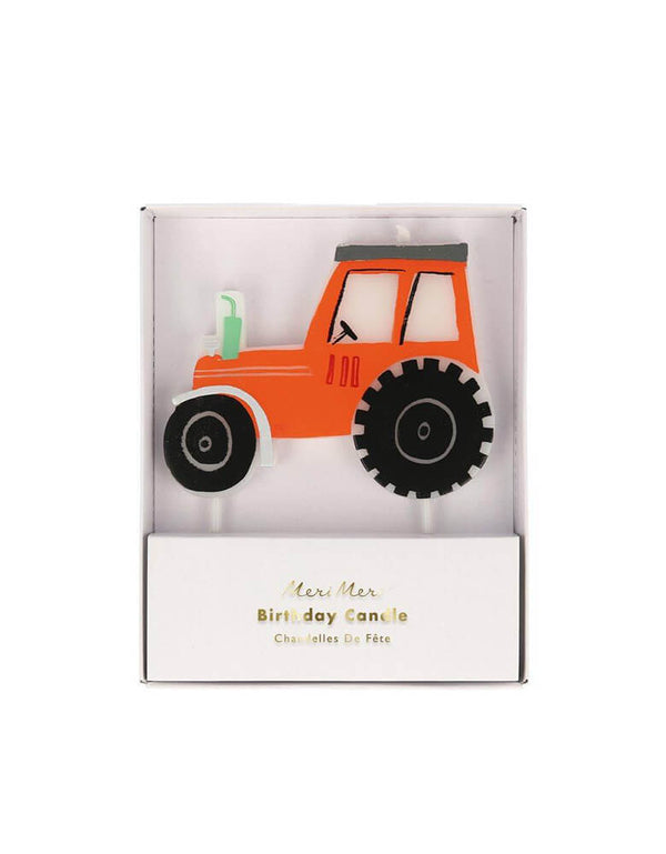 Meri Meri On the Farm Tractor Birthday Candle in Red for a farm themed party