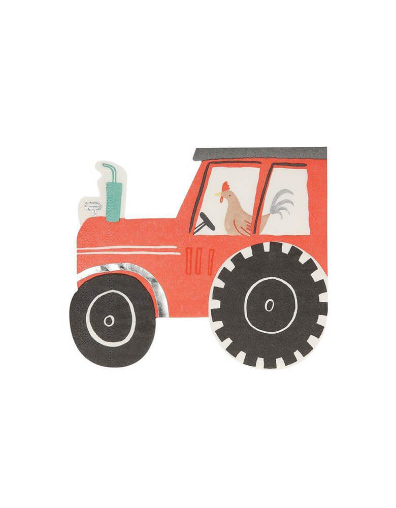 Meri Meri On The Farm Die-cut Tractor Napkins Featuring a large red tractor with a cheeky rooster at the wheel, pack of 16