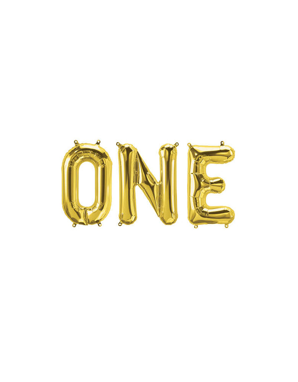 "Northstar 16"" One Gold Mylar Balloon Set for a first birthday party"