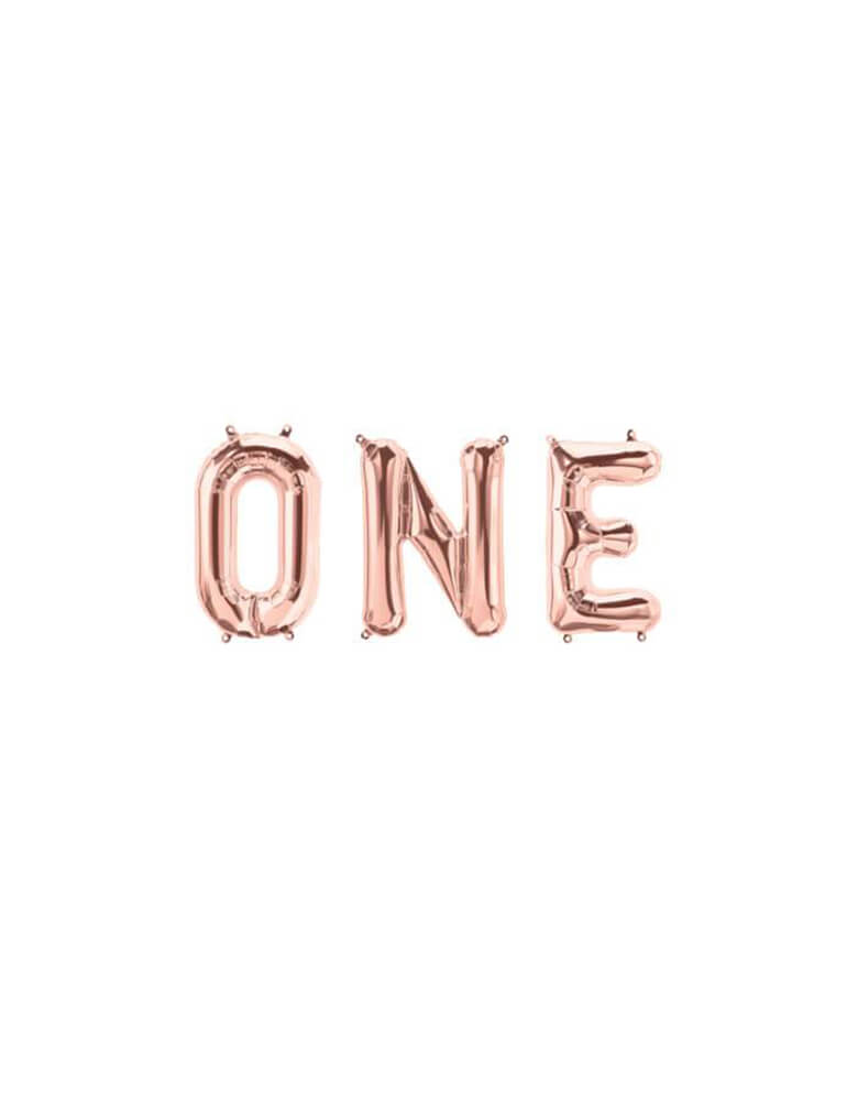 "Letter ""One"" Rose Gold Script Mylar Balloon Set_Girls First Birthday Party Ideas"