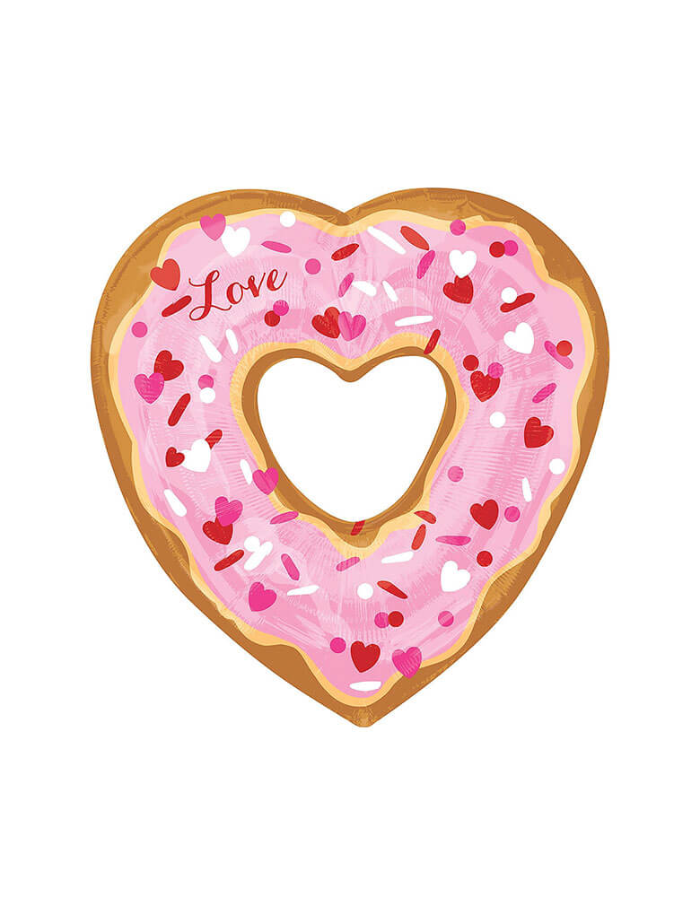"Anagram 26"" Open-Heart-Donut-Foil-Balloon in pink sprinkles with love spelled on it for Valentine's Day"