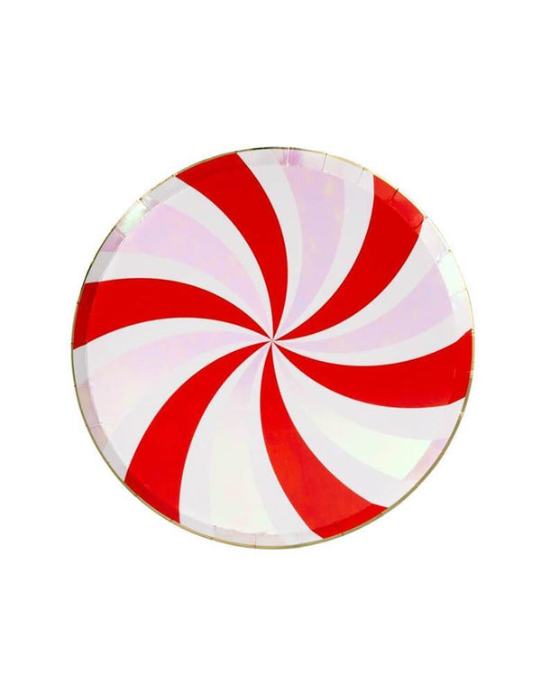 Meri Meri 8.25 inches Peppermint Swirl Side Plates with red pink and white color combo, Eco friendly party tableware for Holiday Christmas party