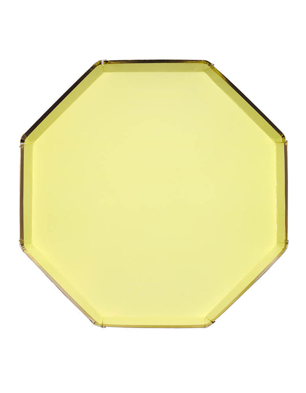 Meri Meri -  Pale Yellow Dinner Plates. pack of 8. Made from high-quality card with a shiny gold foil border and superb gloss finish, they are great for a spring or summer themed party!