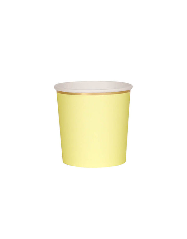 Meri Meri 8.8 oz Pale Yellow Tumbler Cups. Made from high-quality card with a shiny gold foil border and superb gloss finish, they are great for a spring or summer themed party!