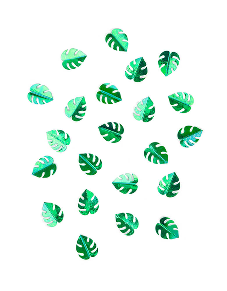 Party Deco Green Palm Leaf Confetti. This confetti features Palm leaf shape cutouts with green foil. Add some fun to your jungle, dinosaur or tropical themed party by spreading this set of palm leaf confetti in metallic green to your table! party supply accessories Sold by Momo party store provided modern party supplies, boutique party supplies, chic holiday party supplies and high end party supplies