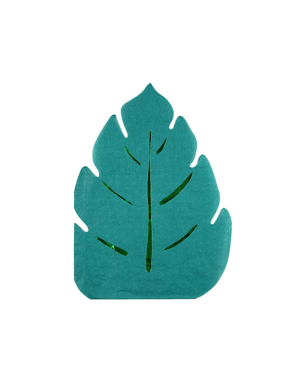 Meri meri Palm Leaf Napkins. with a cut-out shape in forest green, embellished with shiny foil. They are perfect for a jungle, tropical or dinosaur themed celebration!