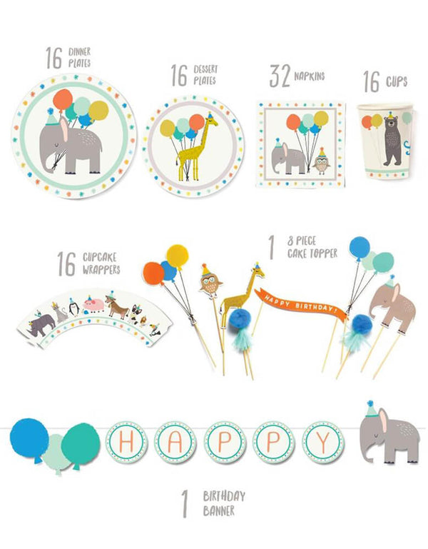 Lucy Darling Party-Animal-_Party-in-a-Box Item List including dinner plates, dessert plates, napkins, party cups, cupcake wrappers, cake toppers and birthday banner, this is a perfect party set for a 1st birthday, kids animal themed birthday, zoo themed birthday, elephant themed birthday