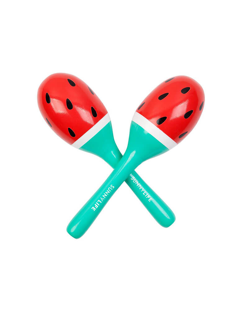 Sunnylife Watermelon Maracas. Summer vibe wooden toy. Measurements Width: 2.75in / 7cm Height: 7.25in / 18.5cm