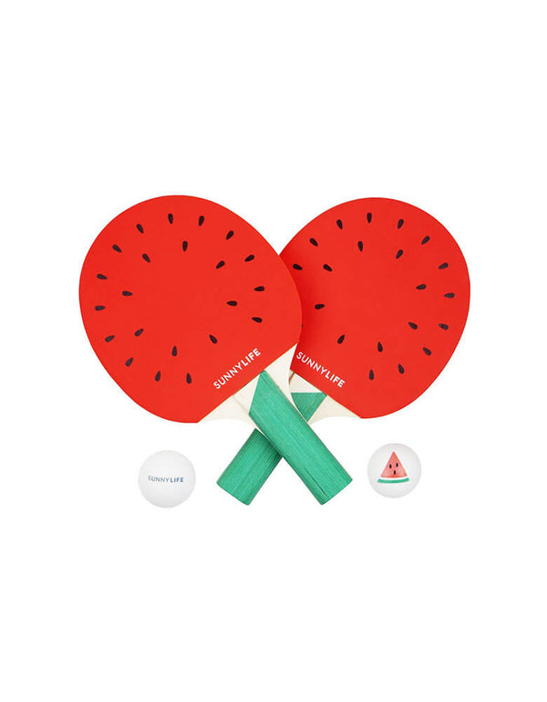 Watermelon Ping Pong Play On.  Brand: Sunnylife Watermelon Ping Pong paddle with ping pang balls. One In A Melon First 1st Birthday Party Activities
