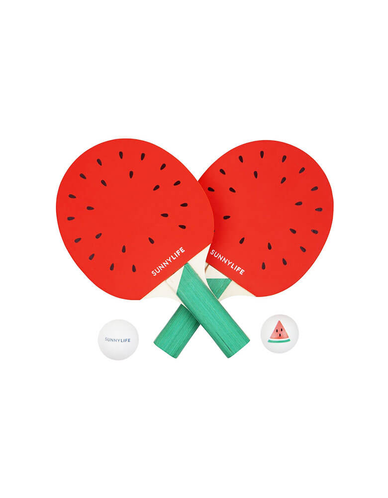 Sunnylife Watermelon Ping Pong paddle with ping pang balls