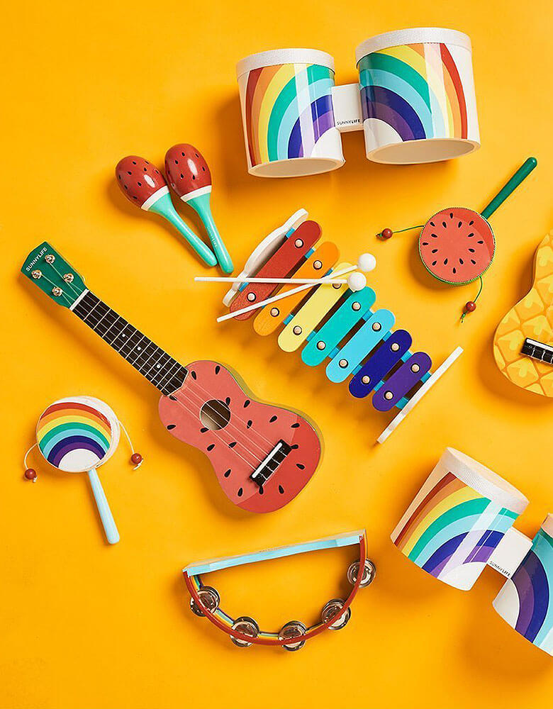 Colorful Music instruments with Watermelon Maracas, watermelon tambourine, watermelon ukulele