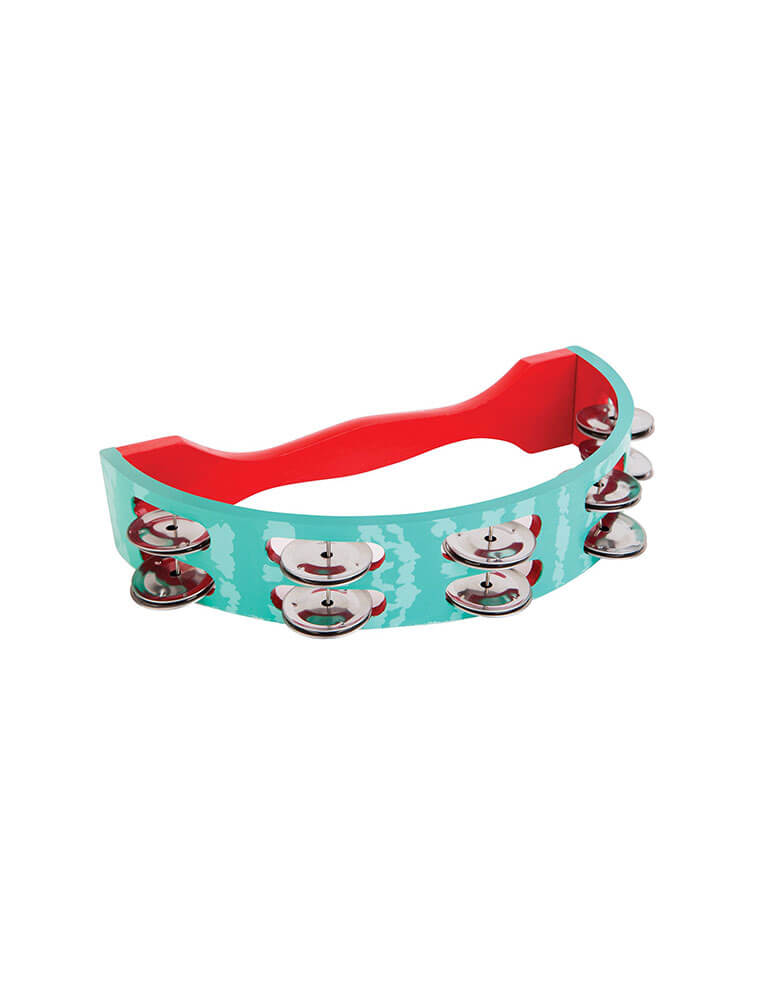 Sunnylife watermelon tambourine. Featuring a wooden body with an authentic sound and feel, the perfect gift for your little music lover