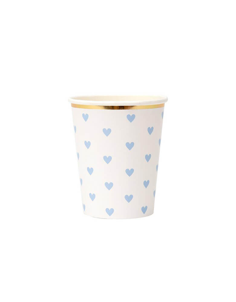Meri Meri 9 oz Party Palette Heart Cup in blue with heart pattern on them and gold foil edge