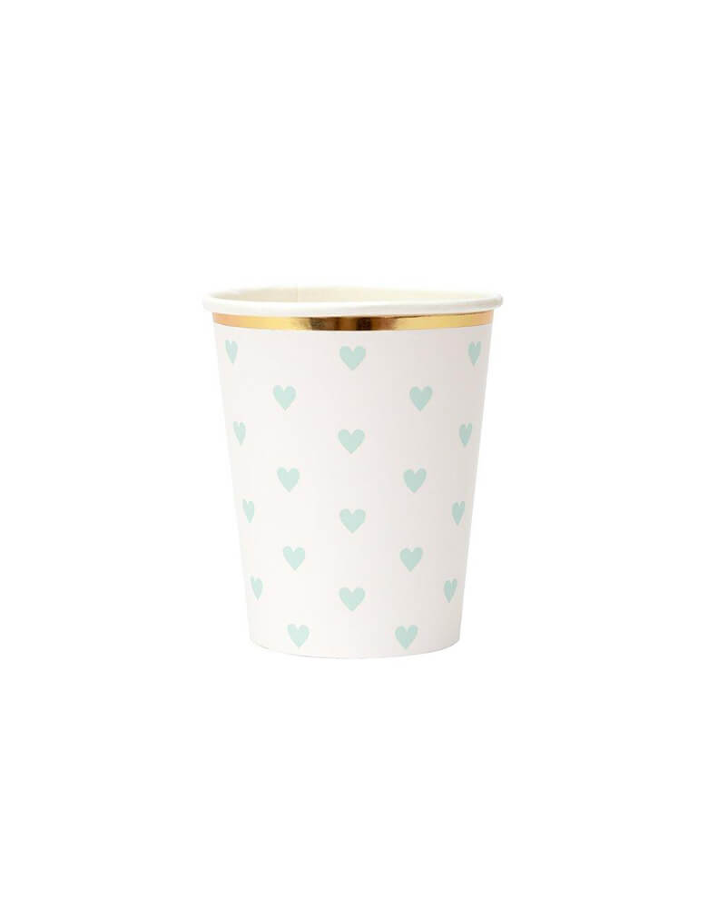 Meri Meri 9 oz Party Palette Heart Cup in mint with heart pattern on them and gold foil edge