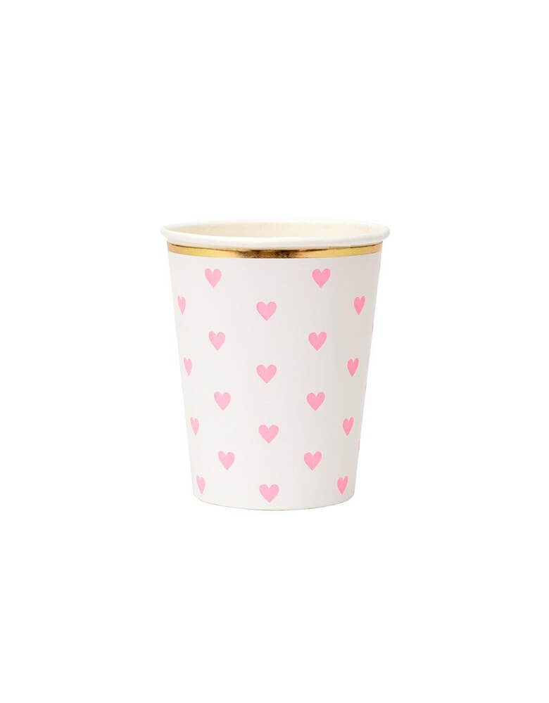 Meri Meri 9 oz Party Palette Heart Cup in pink with heart pattern on them and gold foil edge
