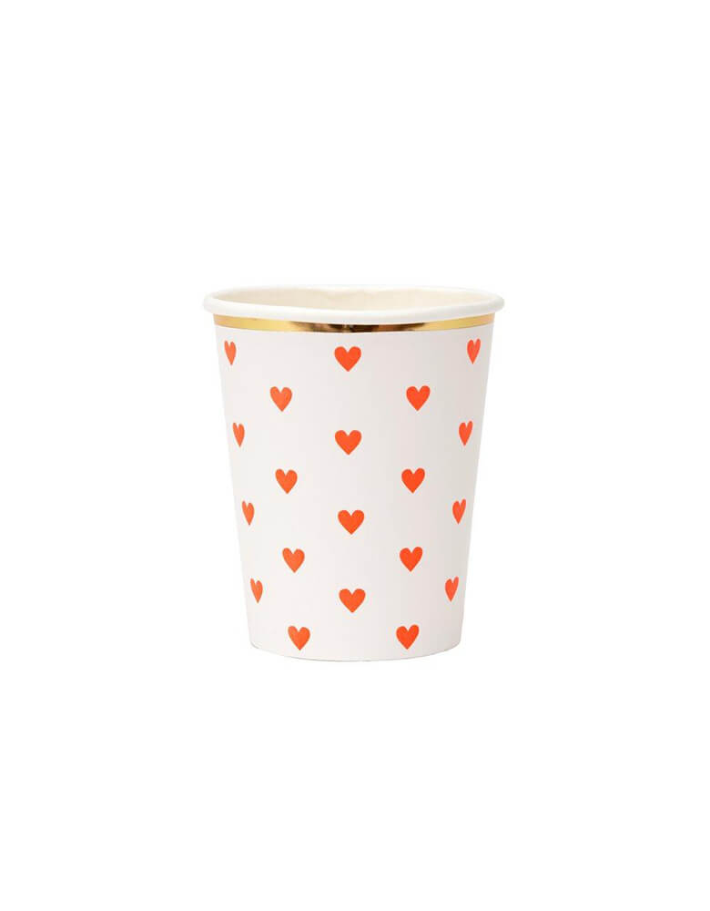 Meri Meri 9 oz Party Palette Heart Cup in red with heart pattern on them and gold foil edge