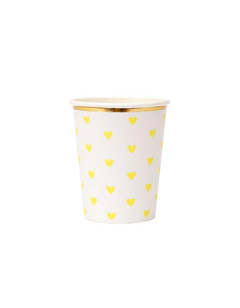Meri Meri 9 oz Party Palette Heart Cup in yellow with heart pattern on them and gold foil edge
