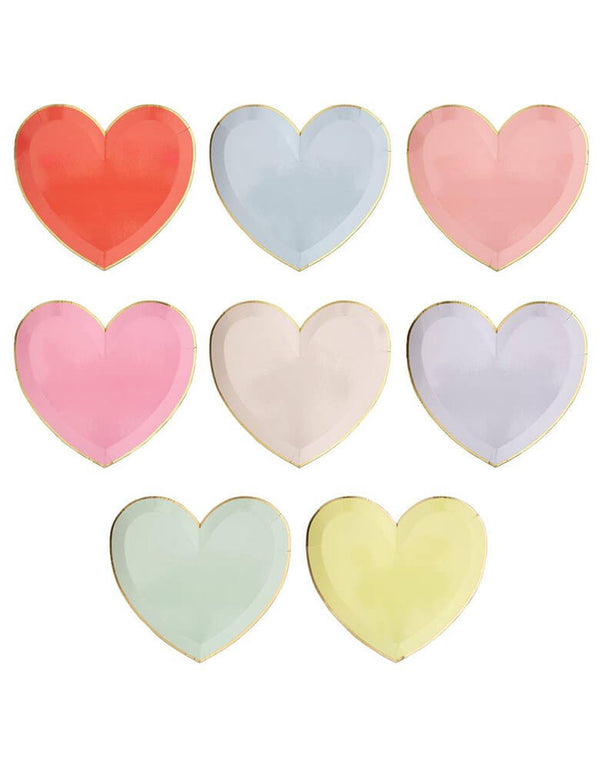 Meri Meri Party-Palette-Heart-Large-Plates in 8 colors