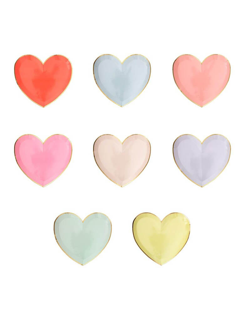 Meri Meri Party Palette Heart Small Plates in 8 colors