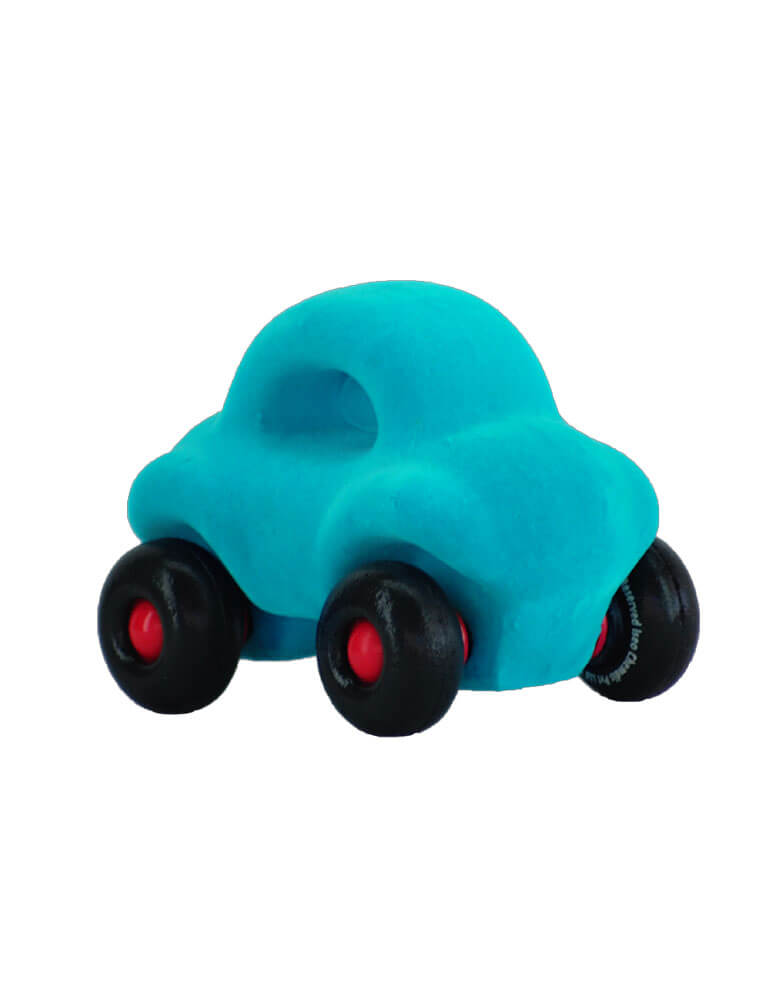 soft rubber foam wheels blue car baby toy