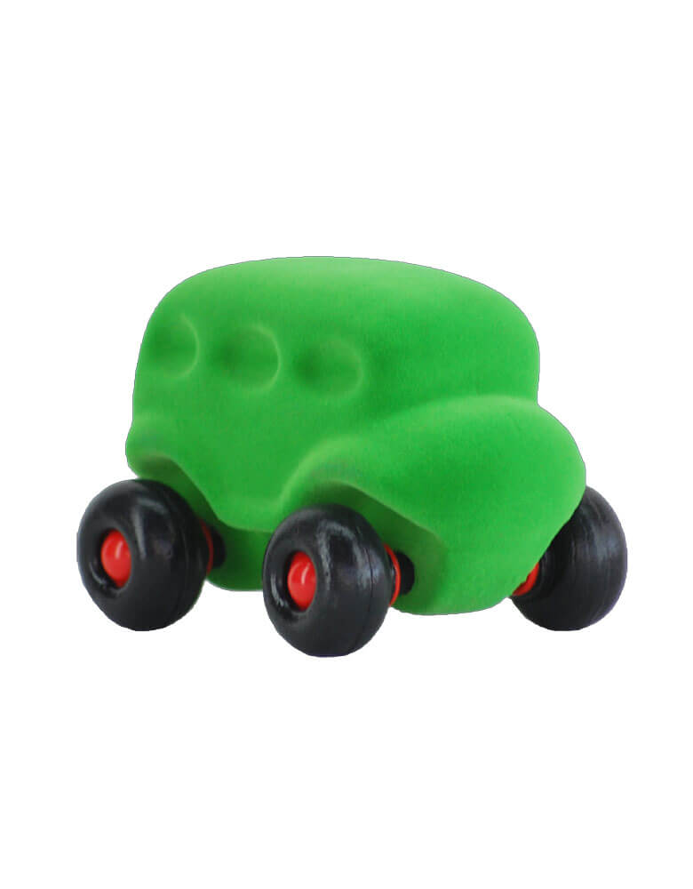 Rubbabu squishy-soft rubber foam green bus toy, Eco-friendly sensory toys for babies, children and special needs.
