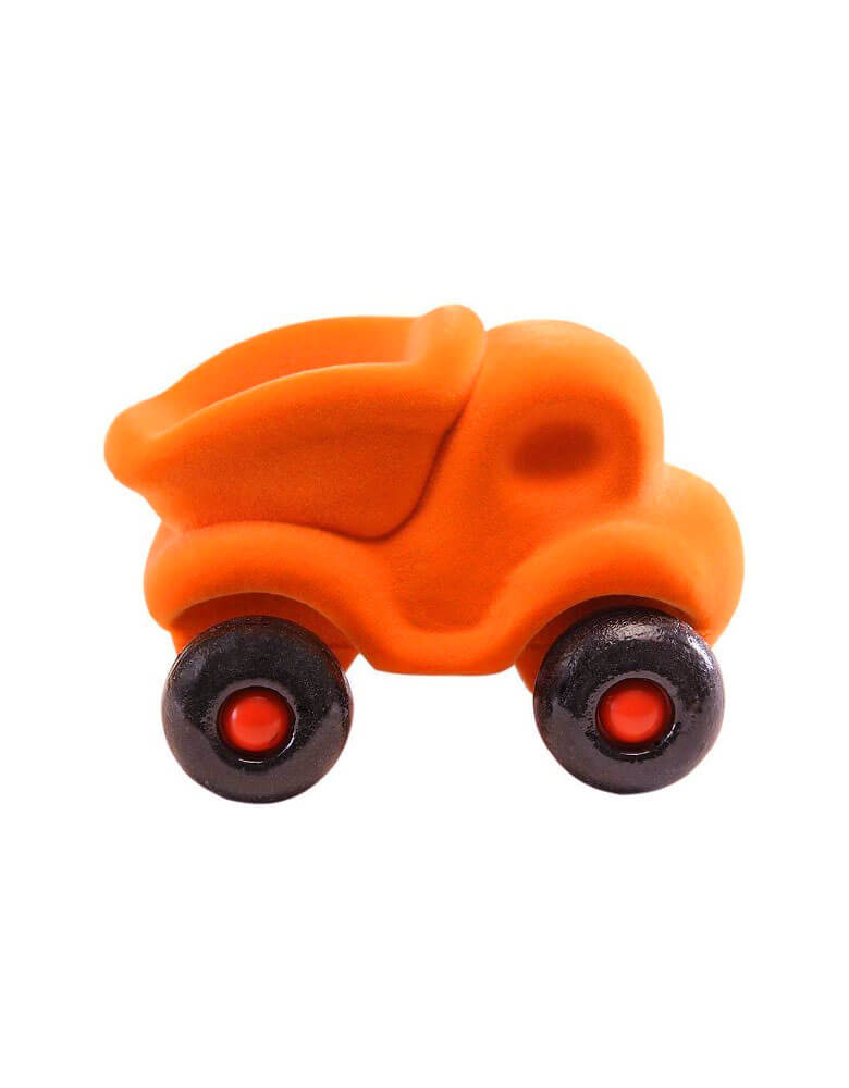 Rubbabu Micro Orange Dump Truck, Eco-friendly sensory toys for babies, children and special needs.