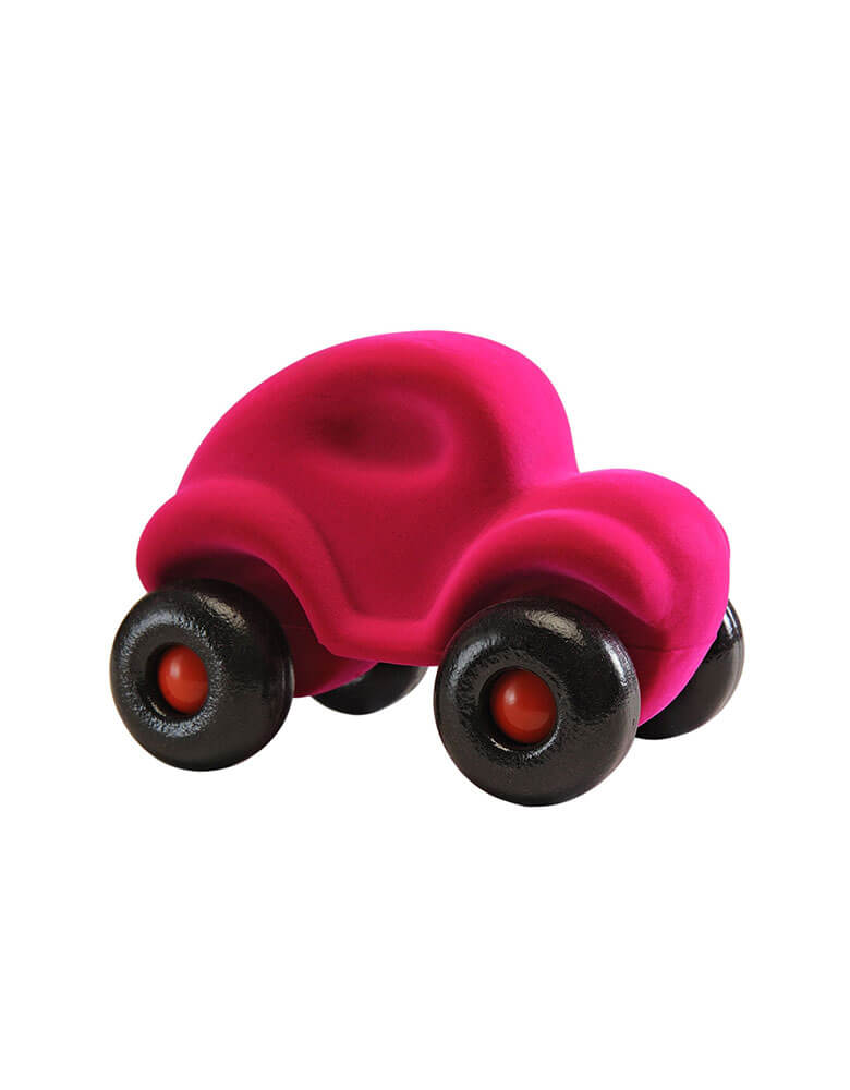 Rubbabu Soft rubber foam wheels pink car toddler toy, Eco-friendly sensory toys for babies, children and special needs.