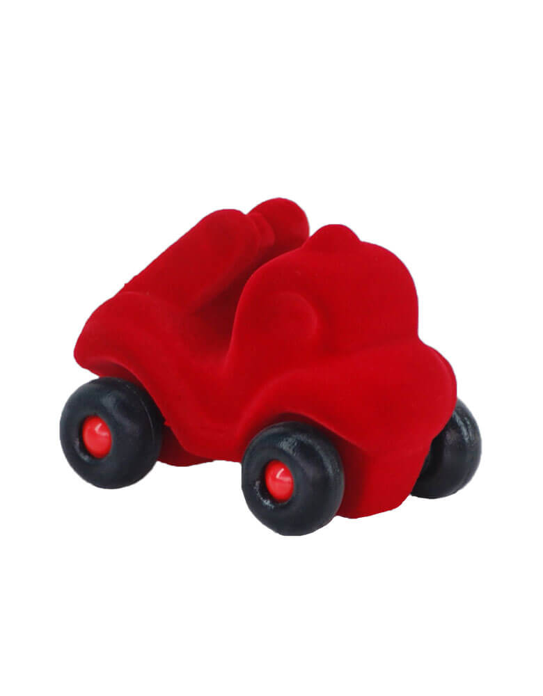 Rubbabu Micro Red Fire Truck Soft Toy, Eco-friendly sensory toys for babies, children and special needs.