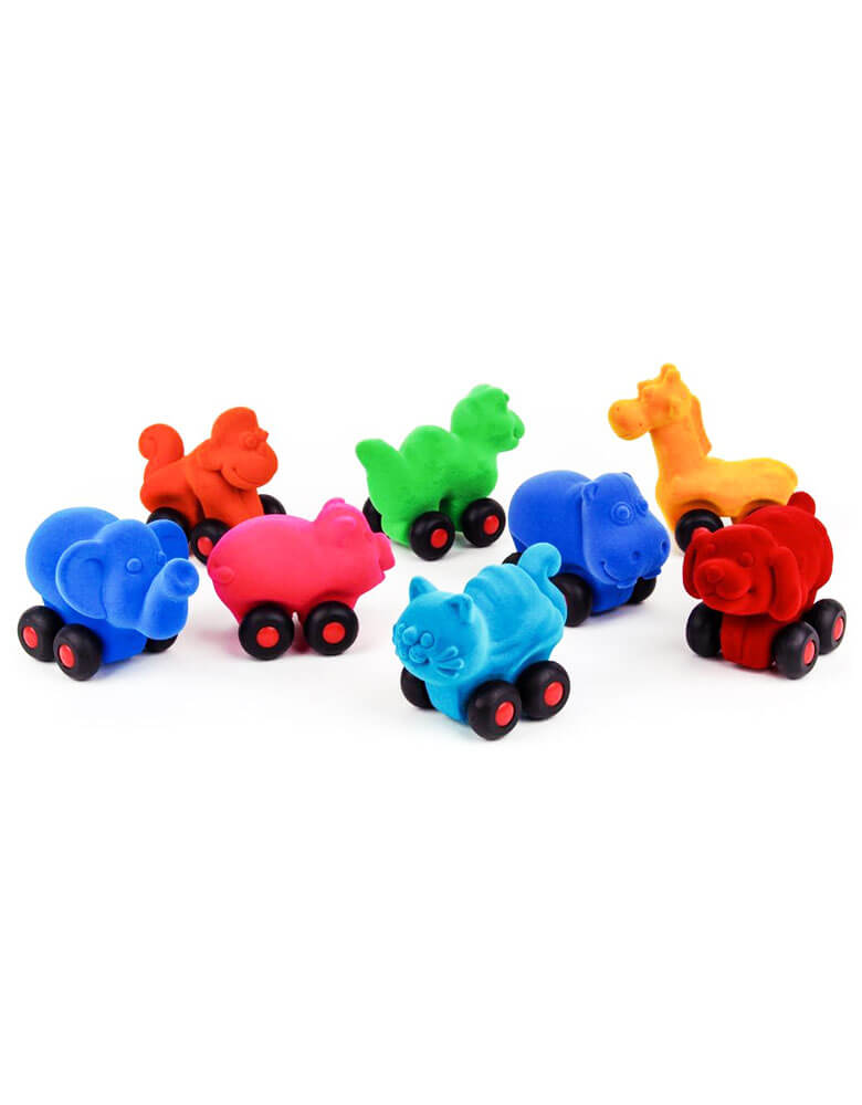 colorful soft toys of animals on the wheels