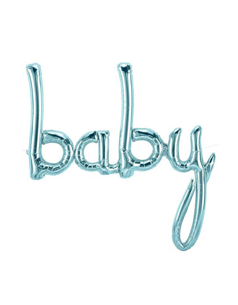 "46 inches Northstar Pastel Blue Foil Balloon spelling out ""Baby"" in script font"