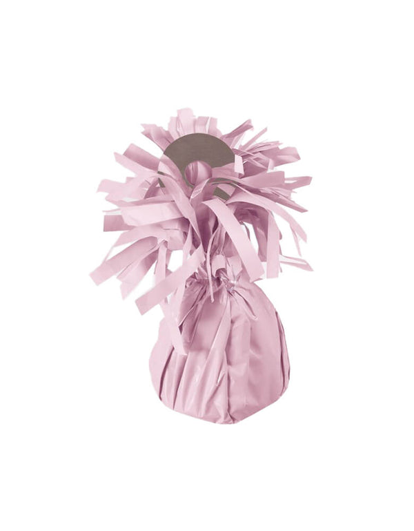 "Forum Novelties Pastel Pink Party Small Balloon Weight with Fringe wrap design, Capable of securing up to 15 - 11"" latex latex or 12 foil helium filled balloons, great for balloon bouquets. Features an attached plastic tab that comes up from the middle of weight to tie your balloon ribbons on to. This balloon weight makes a great party table centerpiece for baby shower, princess party, tea party or any modern birthdays girls birthday party"