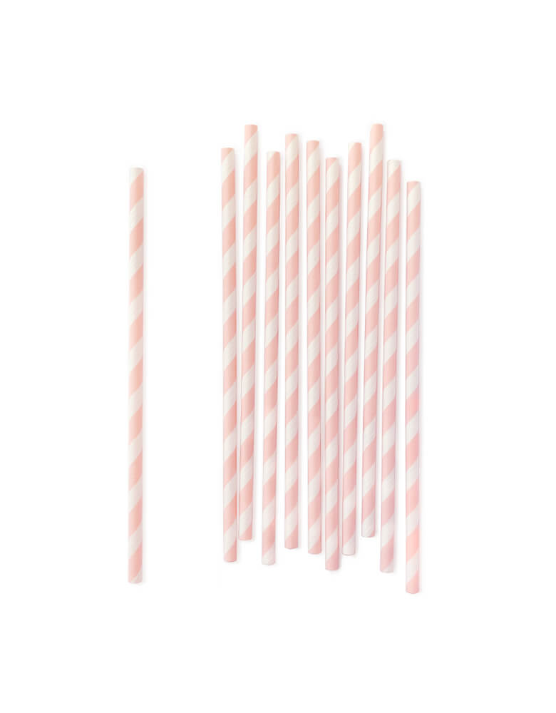 Pastel Pink Striped eco-friendly Party Paper straws, Pack of 25. Adding these pretty paper straws for your party, even, celebration, backyard party, or daily home use